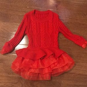 Other - Red sweater tulle dress, fits size 3-5t